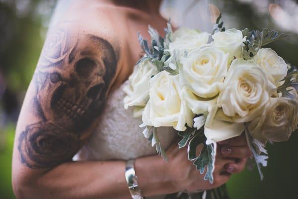 Bride holding her flowers at Crockwell Farm Wedding Venue