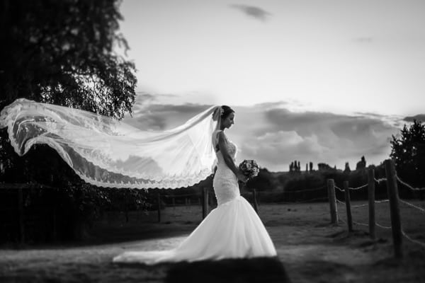 INcredible photo of a bride standing and her veil blowing in the wind. This photo was taken in the wedding venue Flaxbourne Gardens Milton Keynes