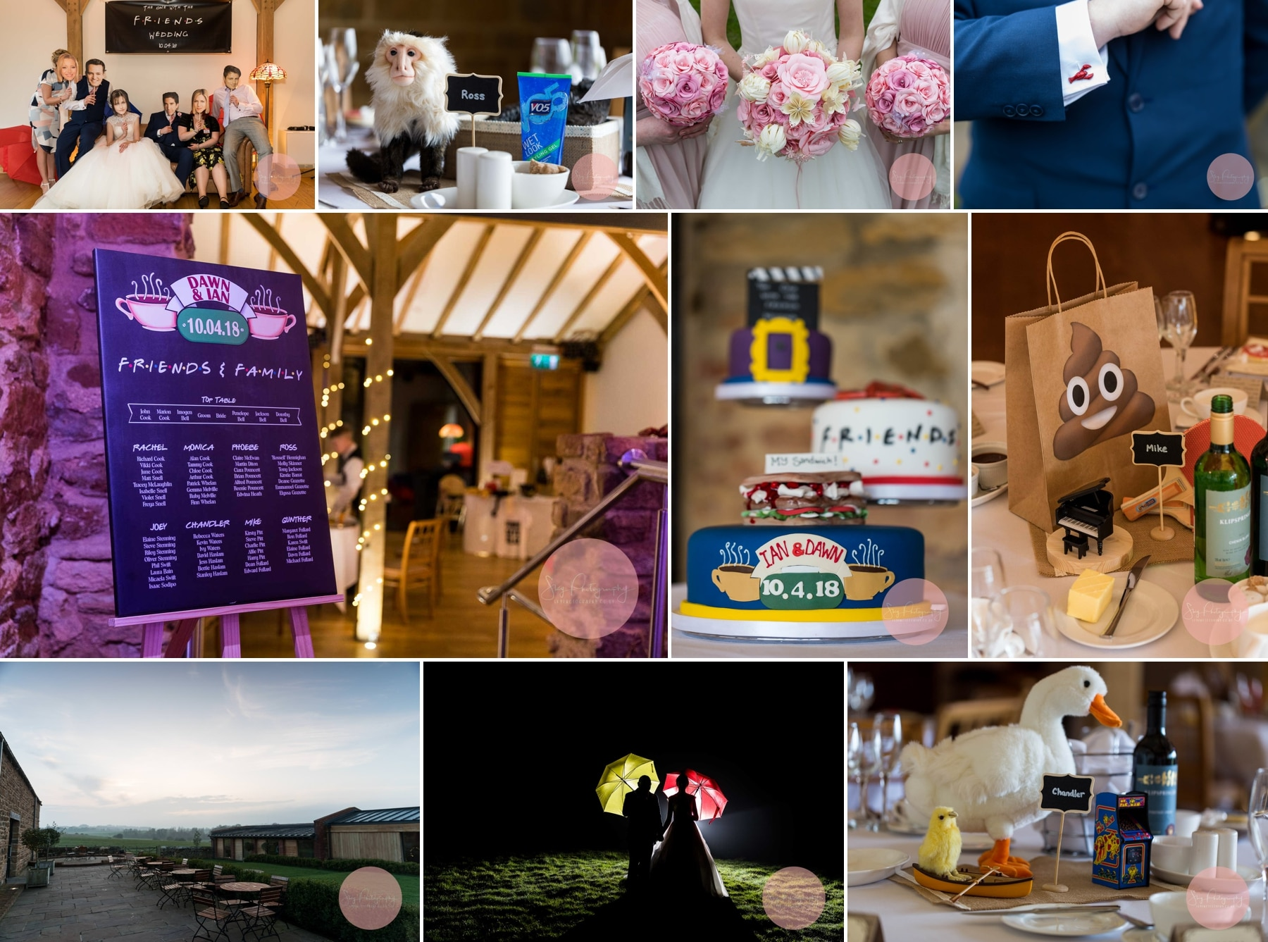 Friends themed wedding at Dodford Manor