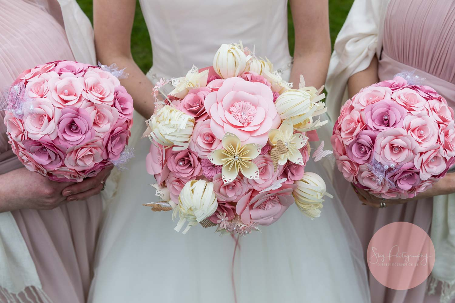 Bride Handmade pink paper wedding bouquets for bride and bridesmaids