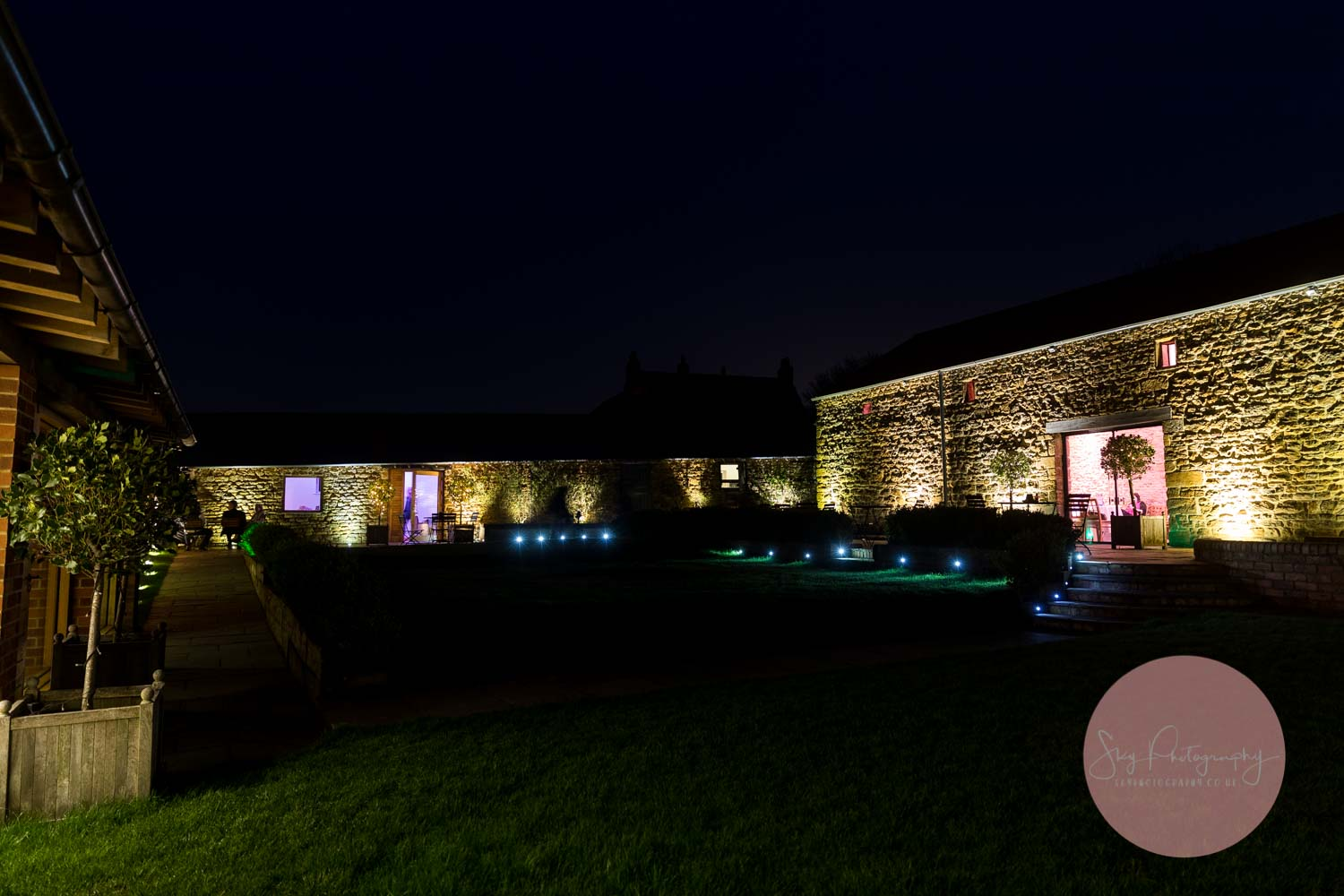 Dodford Manor Barns wedding venue at night