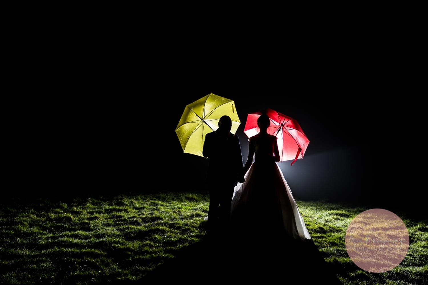 Friends wedding umbrella night photo