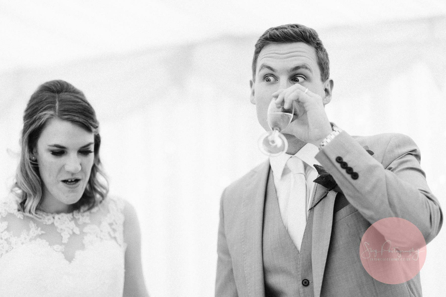 Groom pulling a funny face