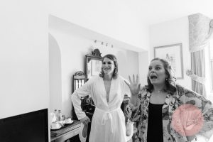 Bridesmaid with a funny expression in the bridal preparations