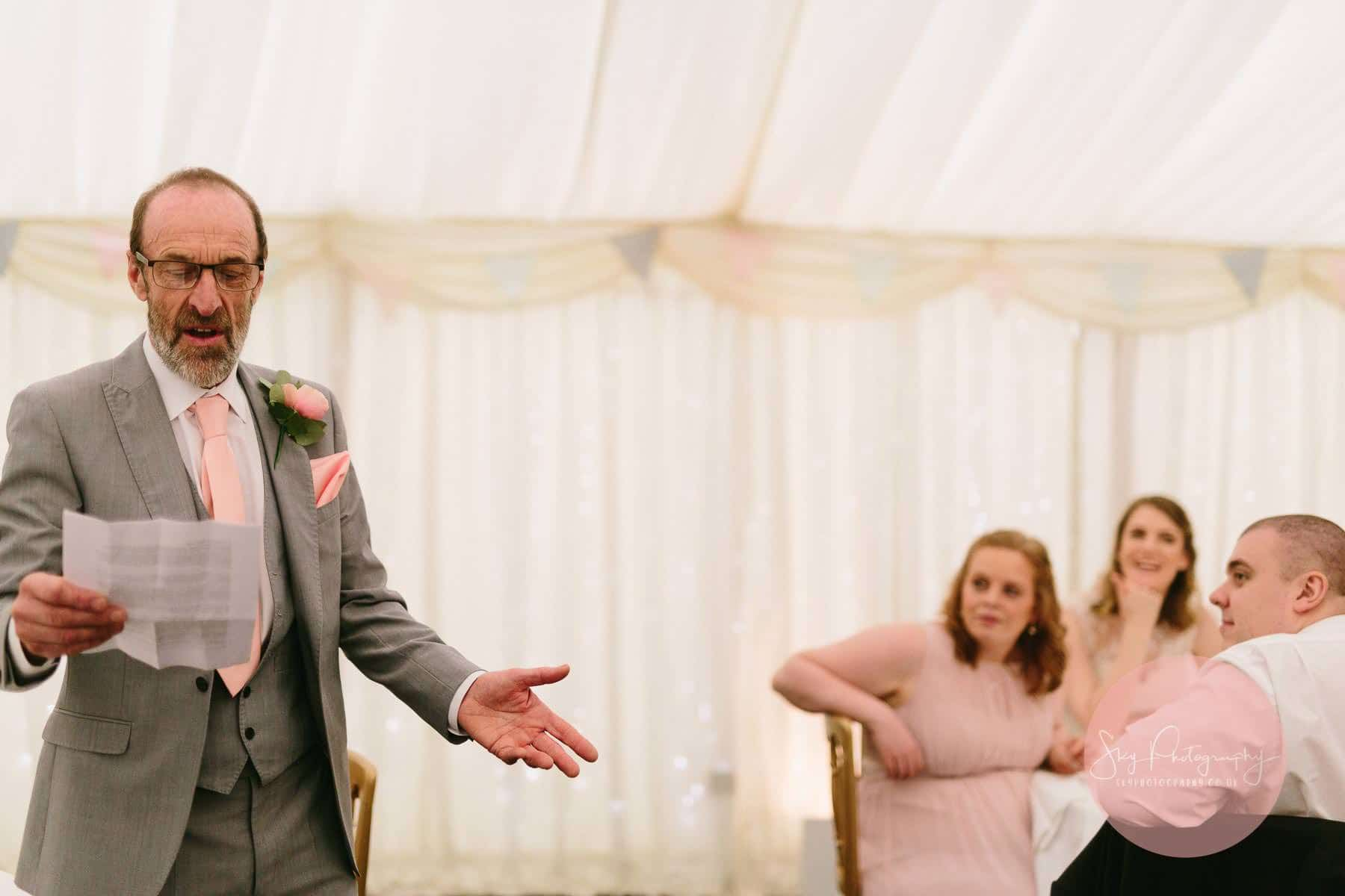 Brides father saying his speech