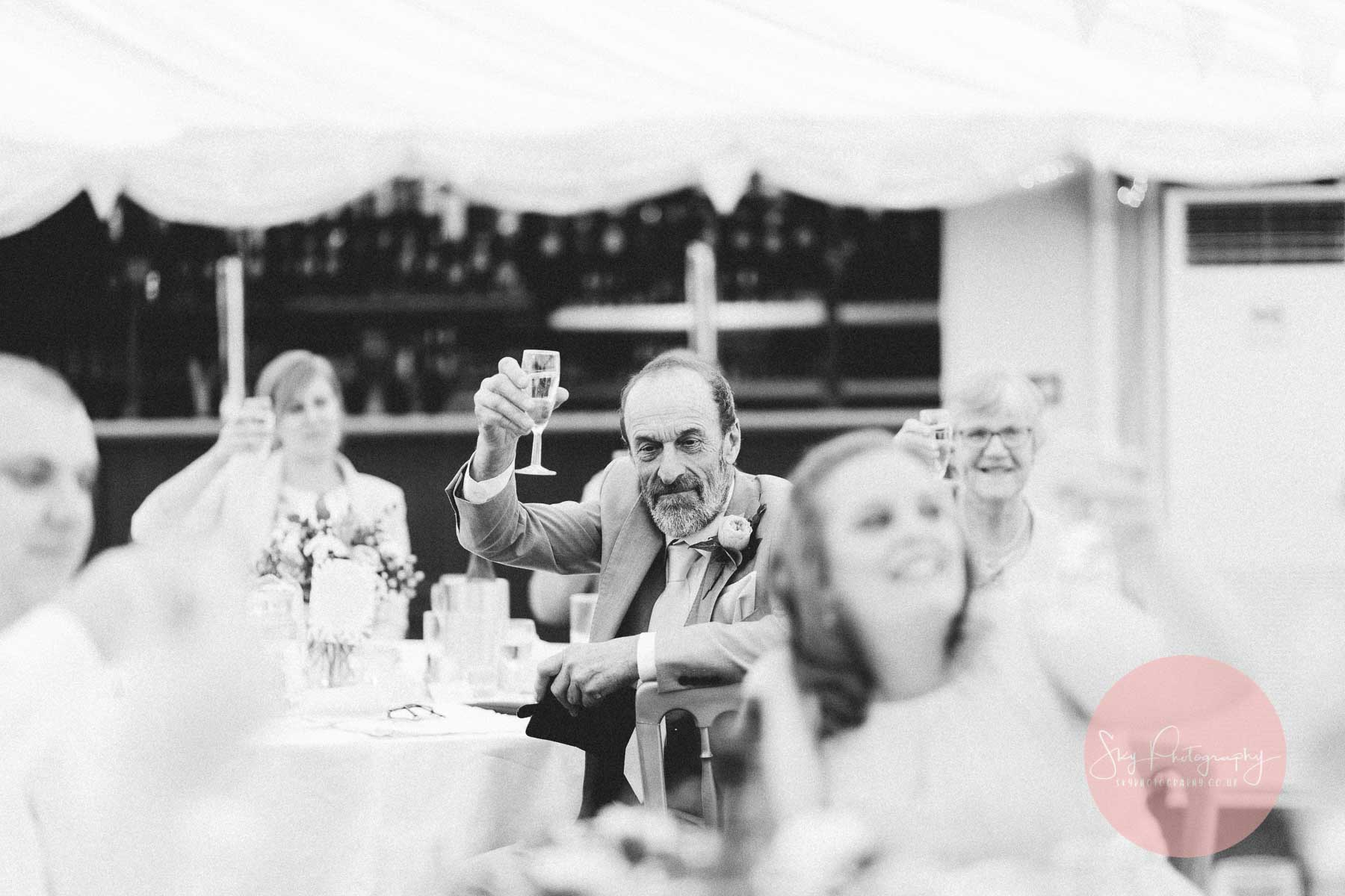 A toast during speeches