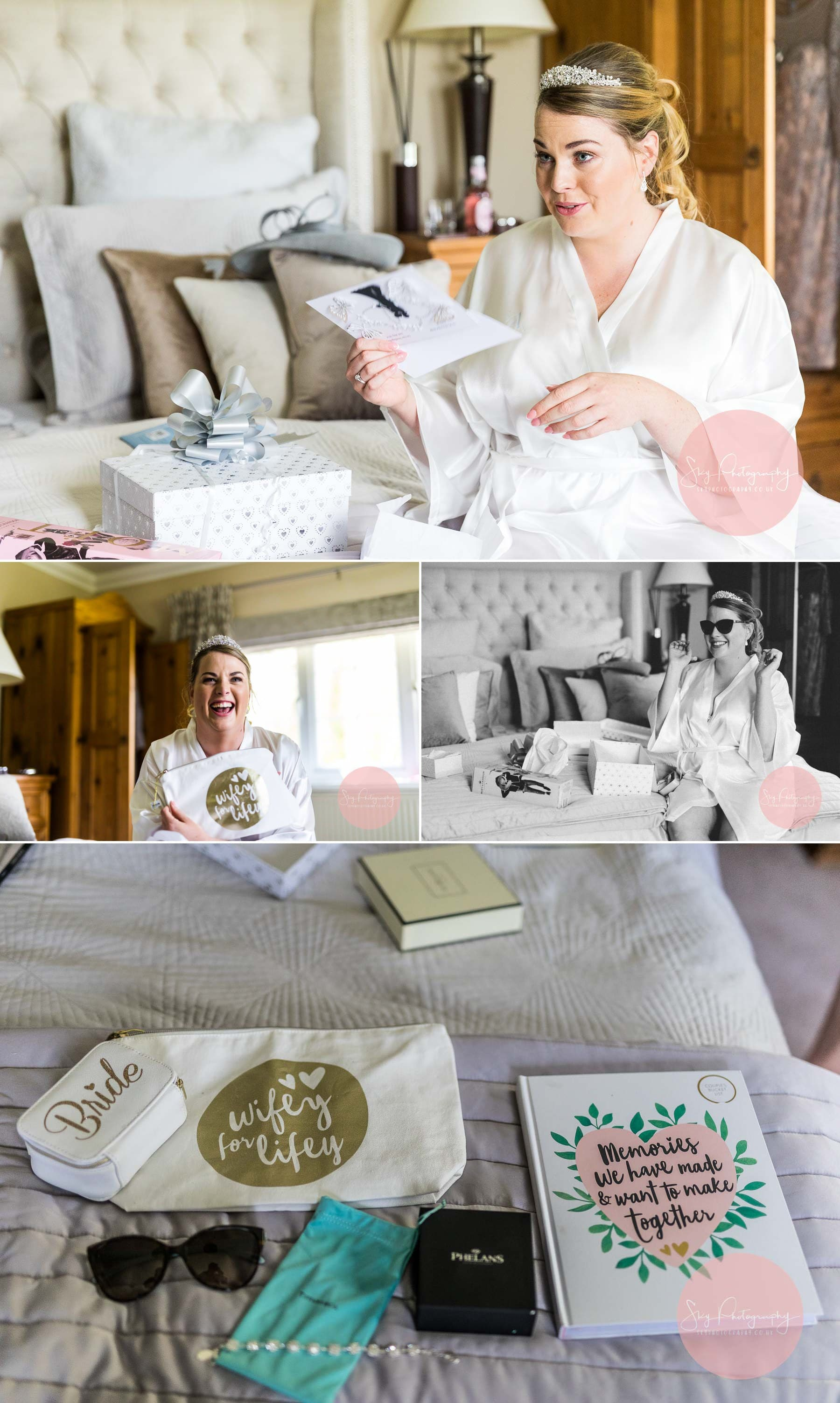Bride getting emotional after receiving her gifts from her groom to be