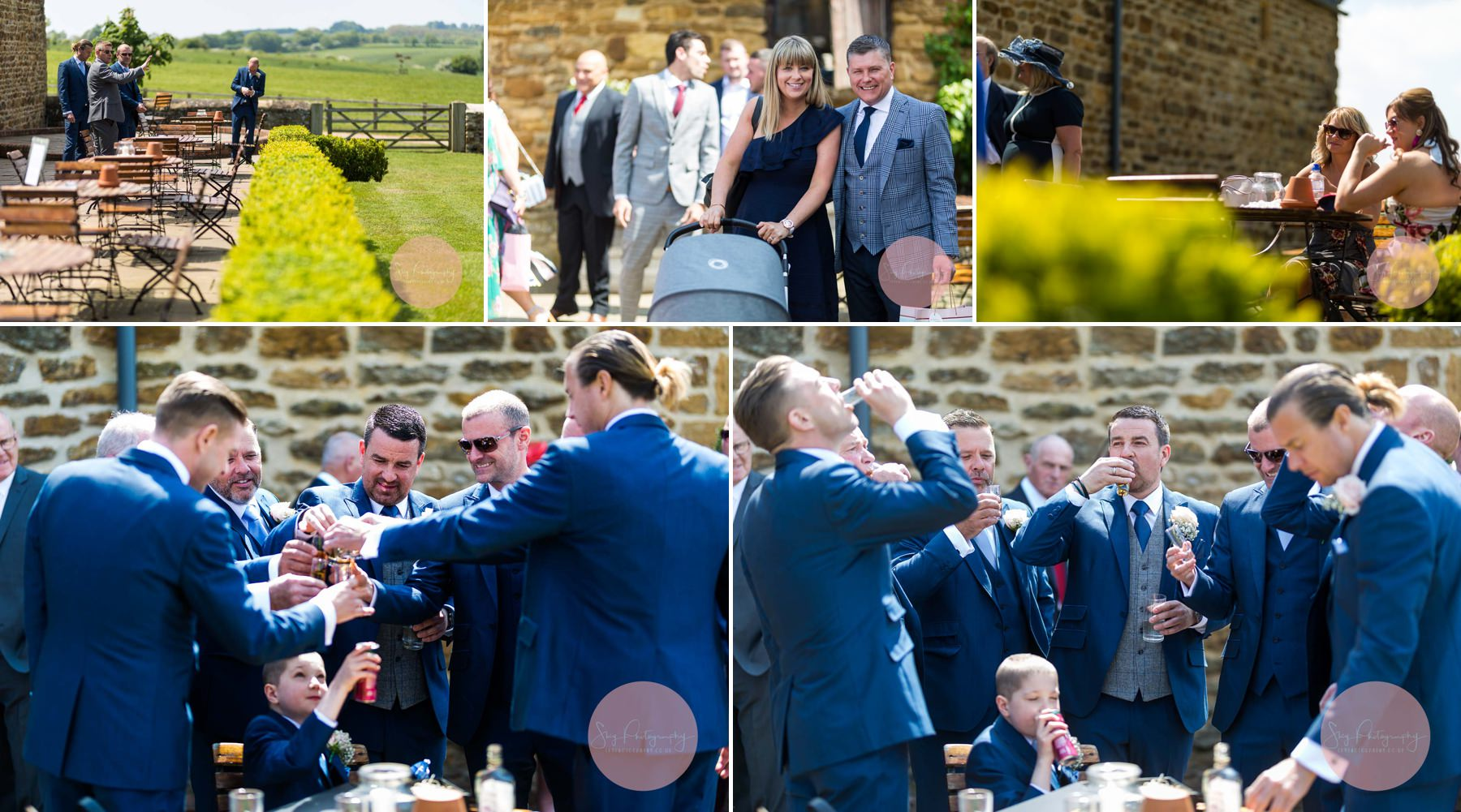 Groom and his groomsmen enjoying a last drink at dodford manor before his ceremony as guest arrive