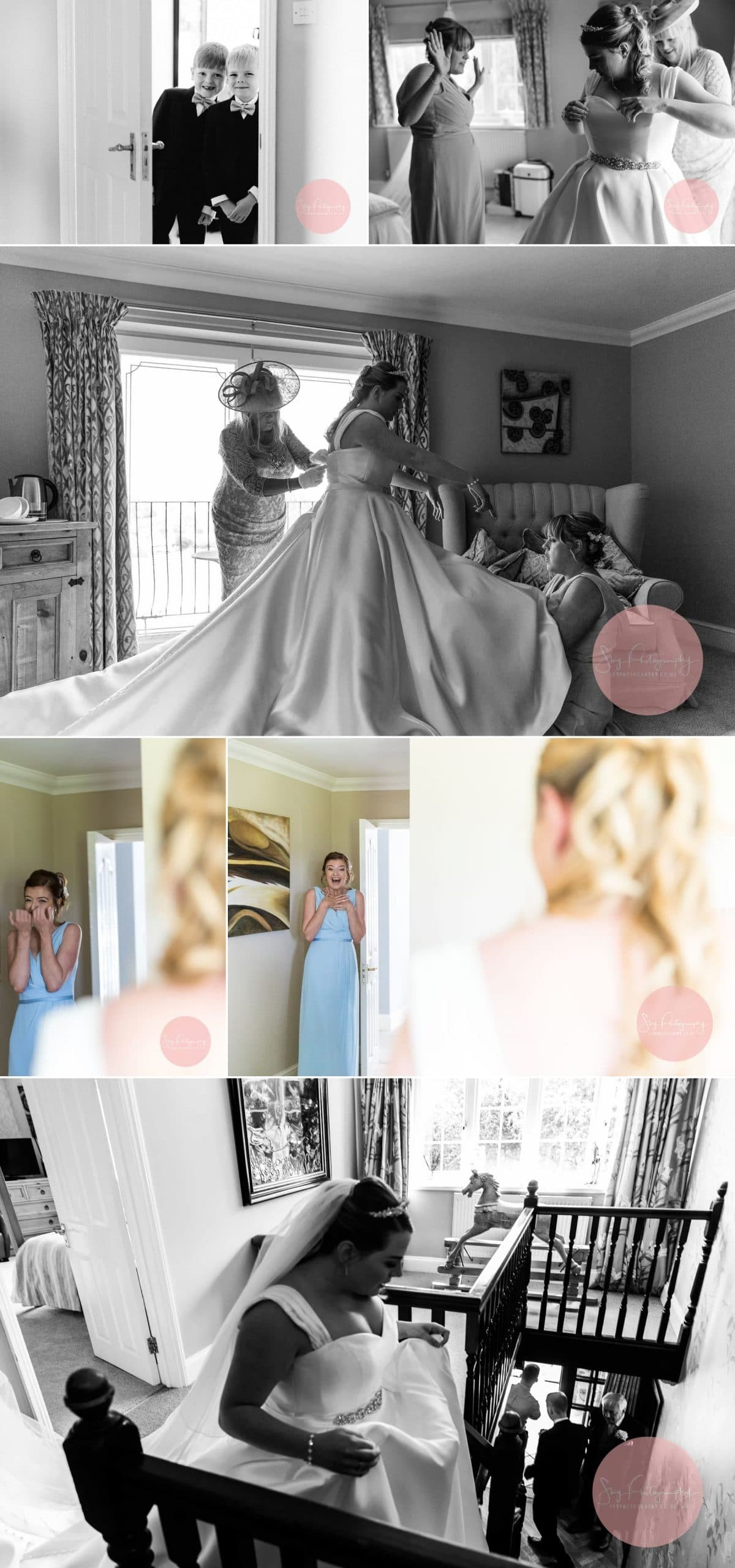 Excited bridesmaid seeing bride dressed for the first time