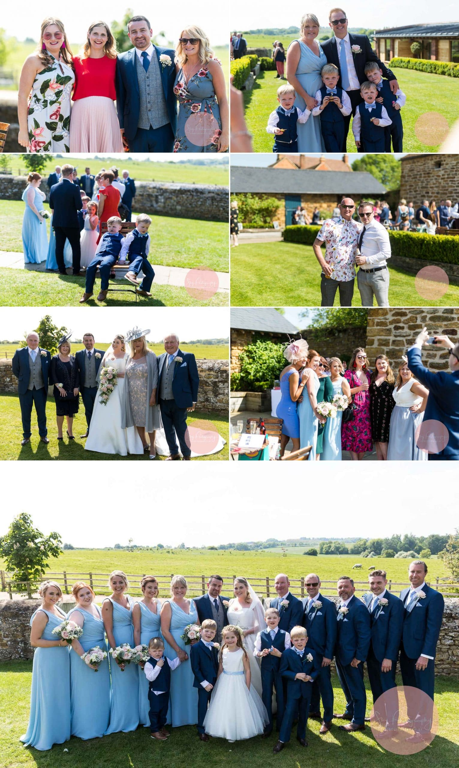 Wedding Guests at Dodford Manor posing for photos with sheep in the background