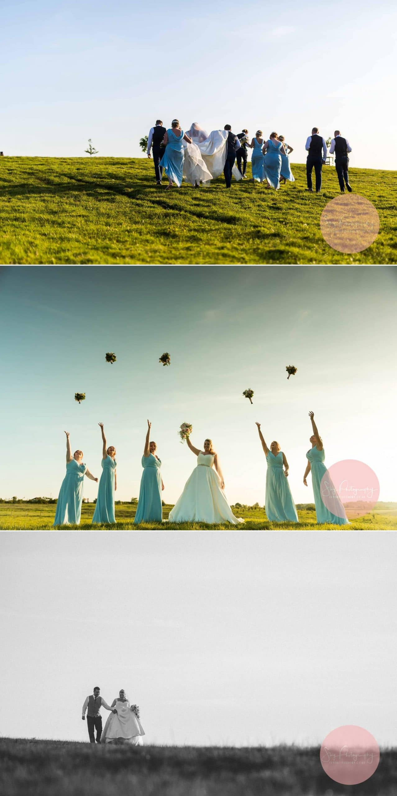 Bride and Bridesmaids throwing their bouquets
