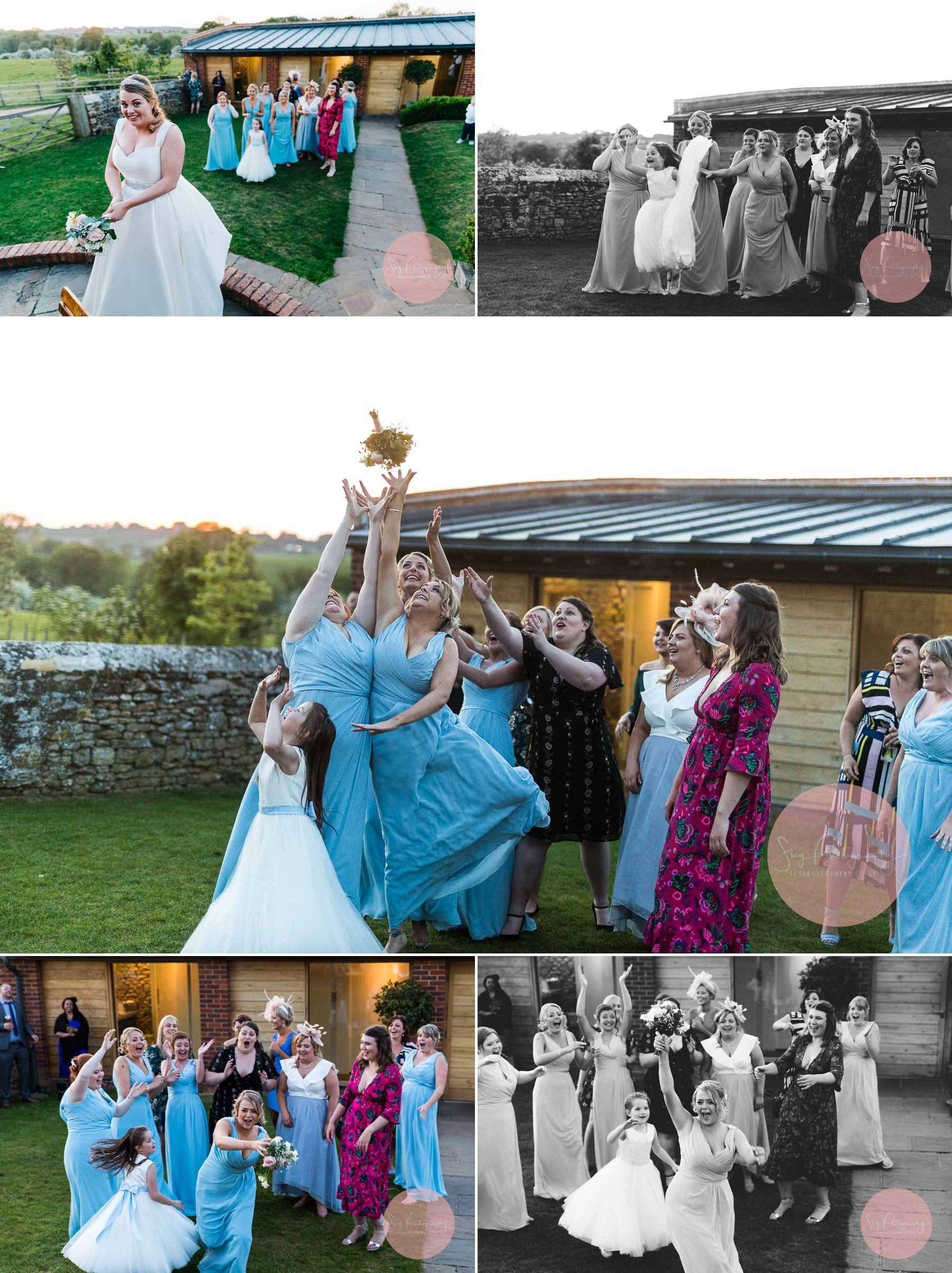 Amazing throwing the bouquet photo sequence