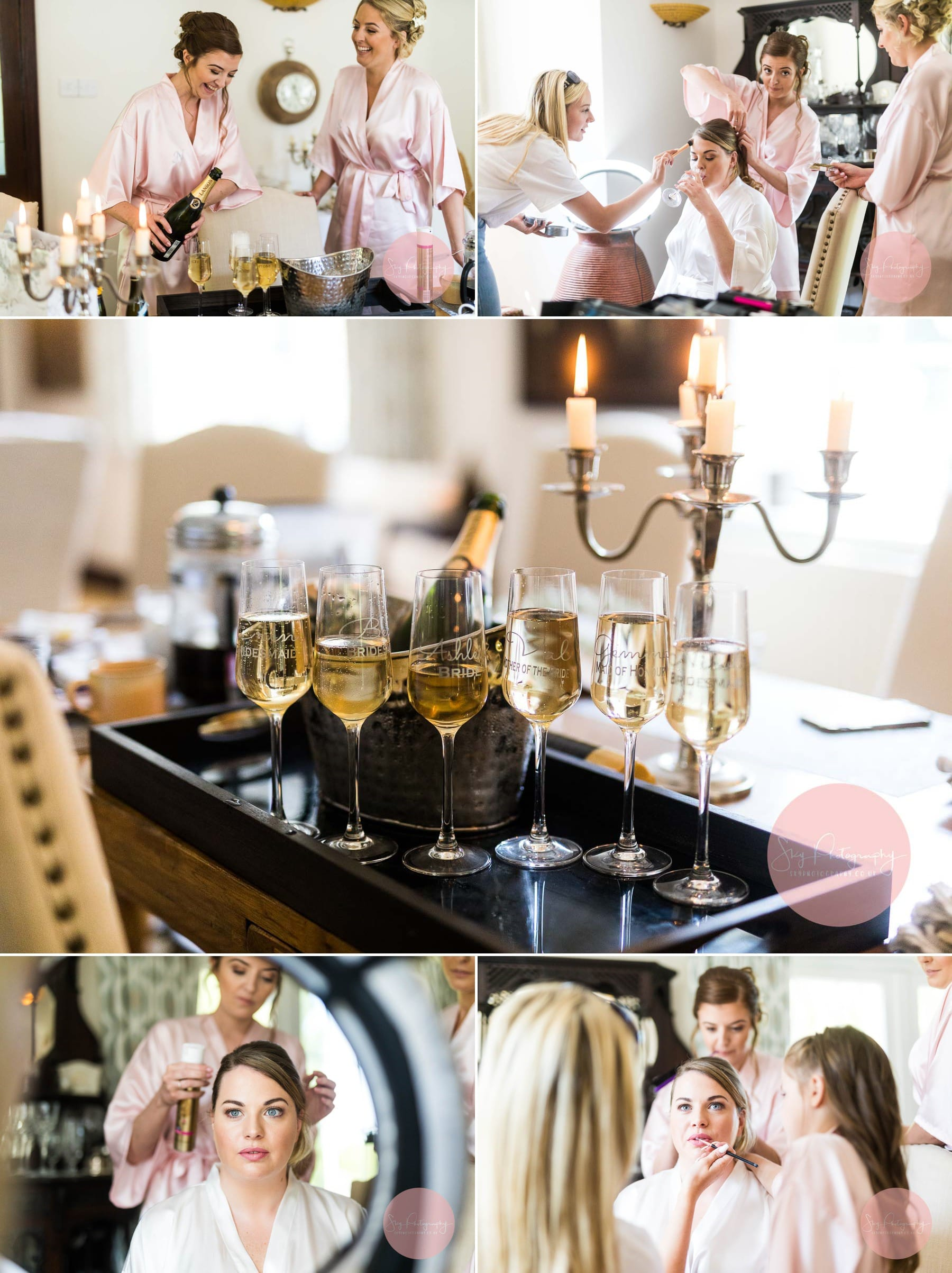 Dodford Grange airbnb, Wedding Preparations of bridesmaids and bride, Collage of 5 photos