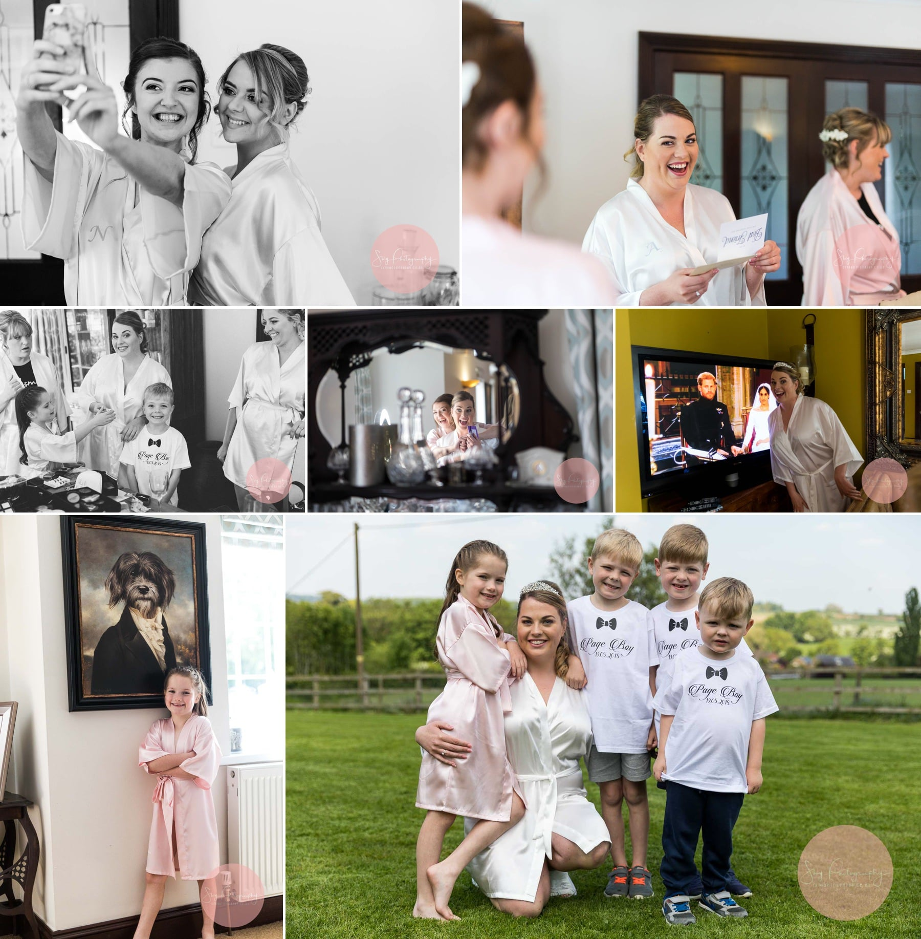 Dodford Grange A45, Bridesmaids, bride, page boys and flowers girl getting ready for the wedding at dodford manor, Collage of 7 photos