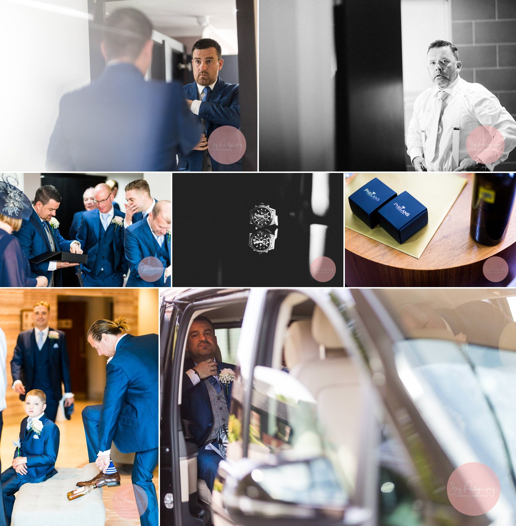 Groom and his groomsmen getting ready at Staverton Park Hotel