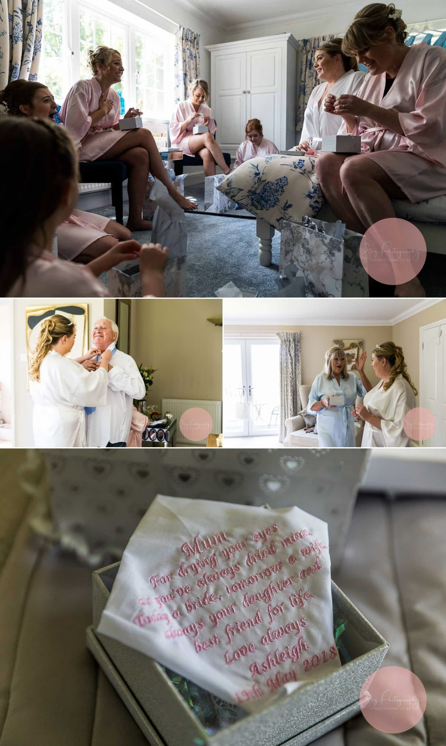 Dodford Grange Bed and Breakfast, Wedding Preparations Bride and Bridesmaids having fun Collage
