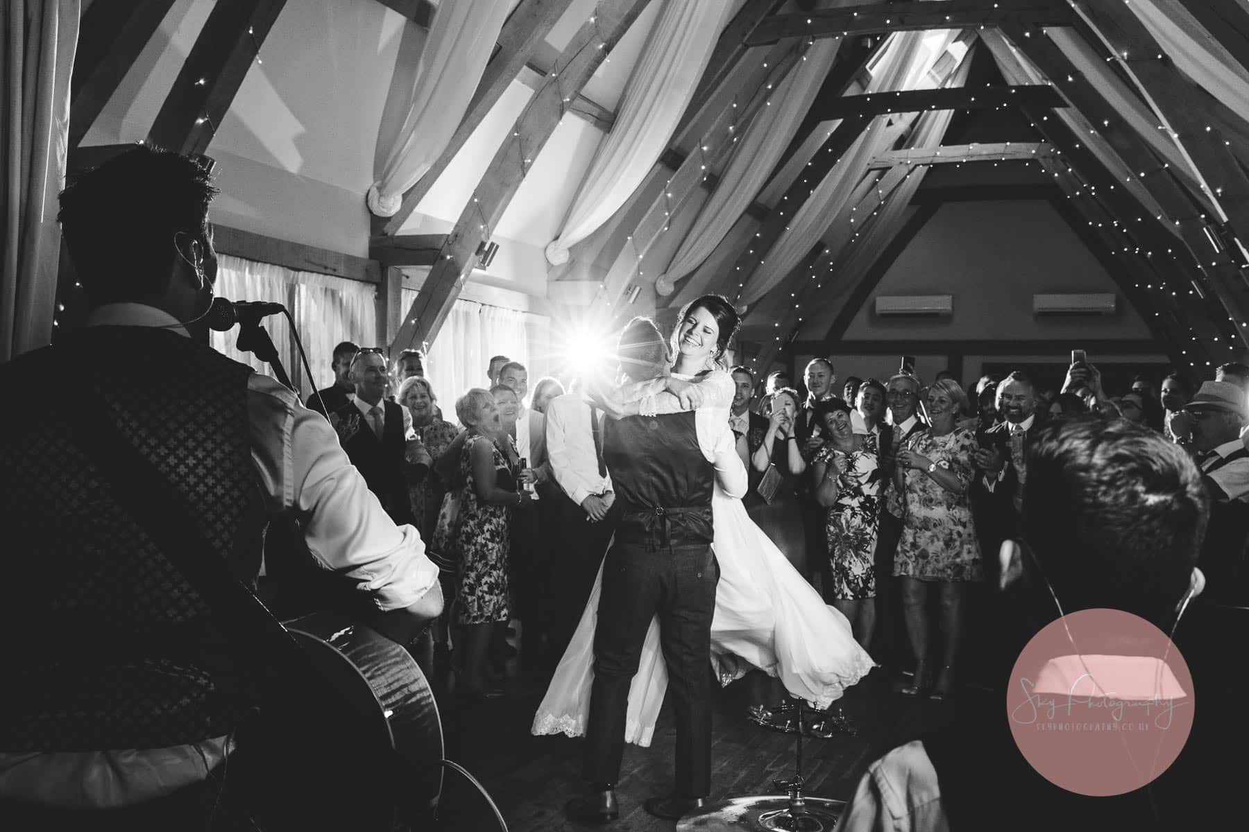 Stunning black and white first dance photo taken by Bassmead Wedding photographer