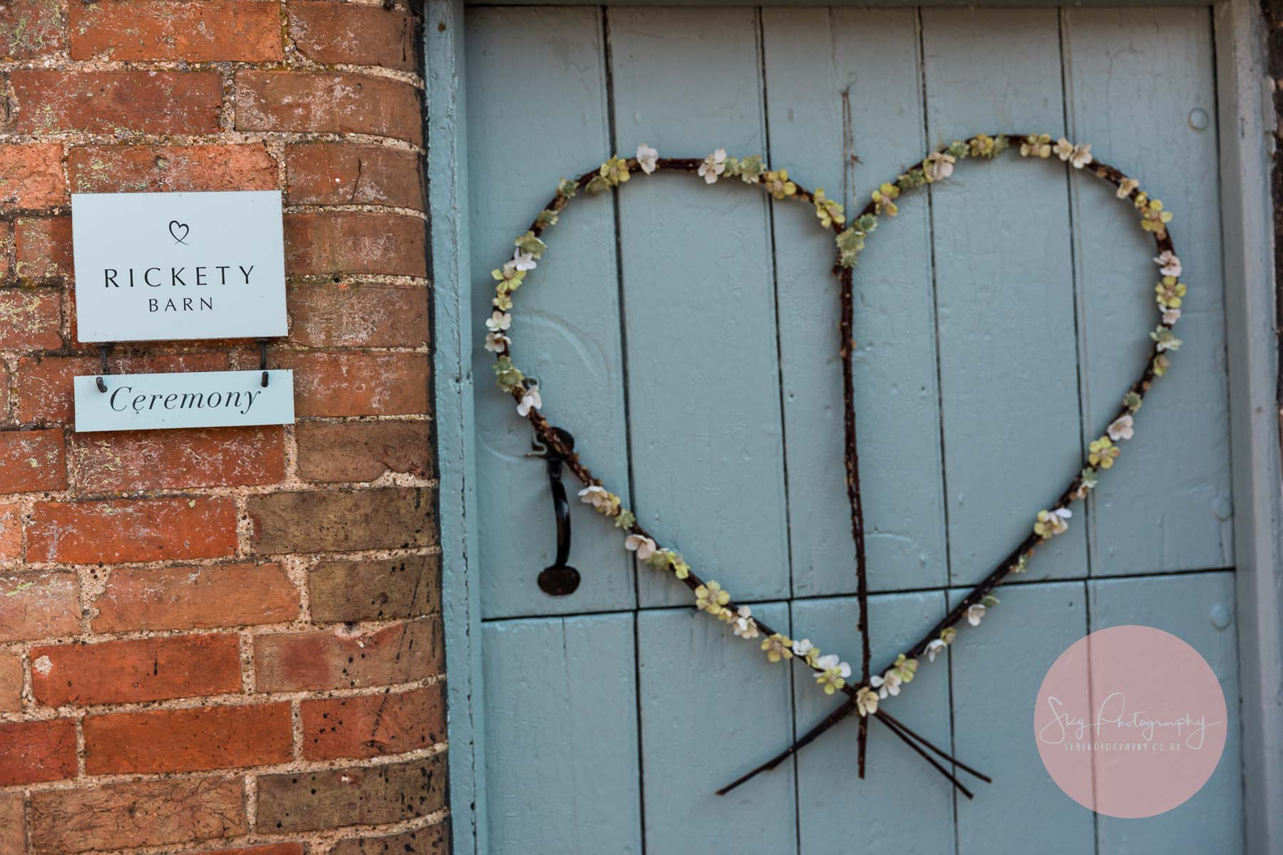 Flower love heart at the rickety barn door in bassmead manor