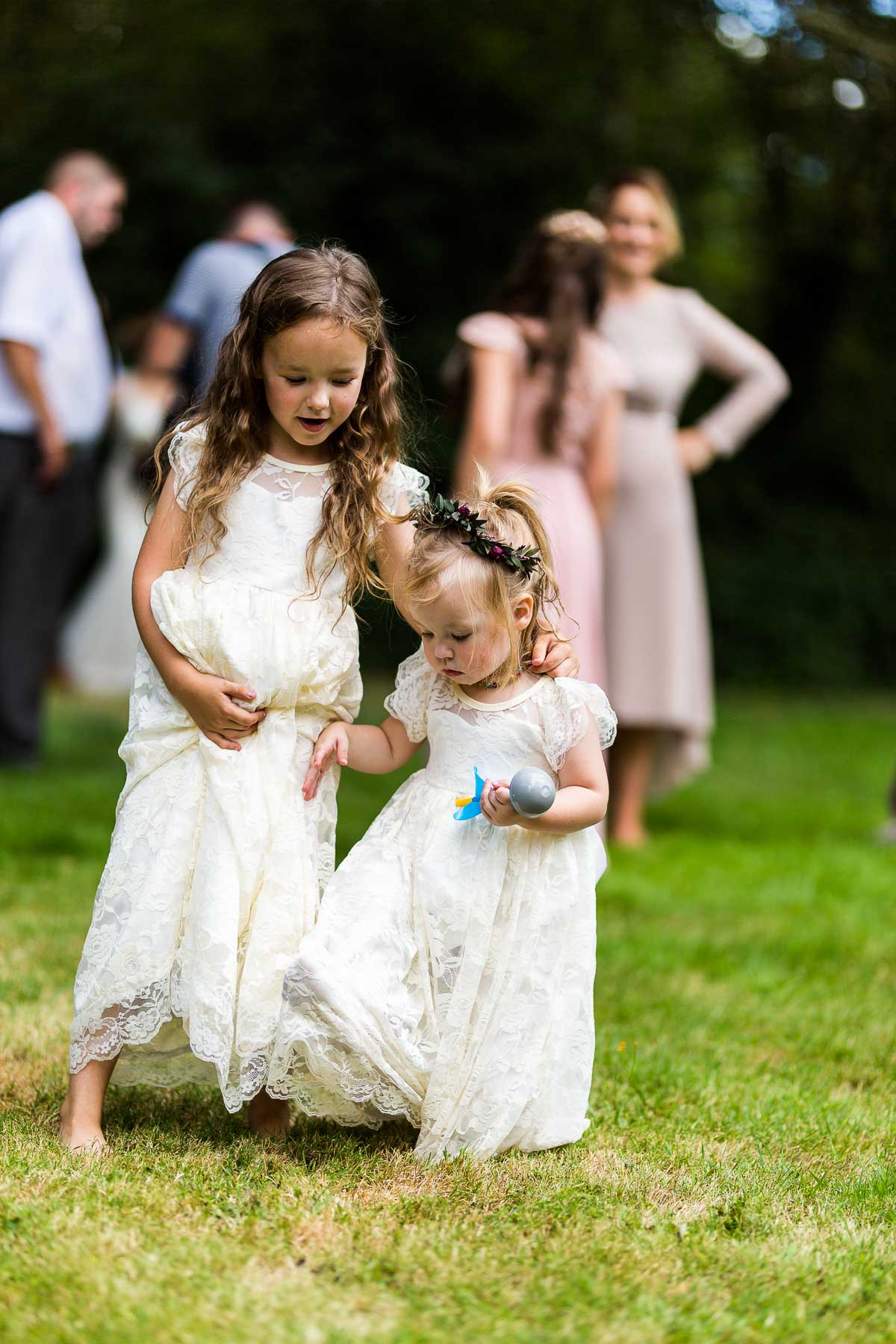 flower girls playing at the wedding in east hunsbury