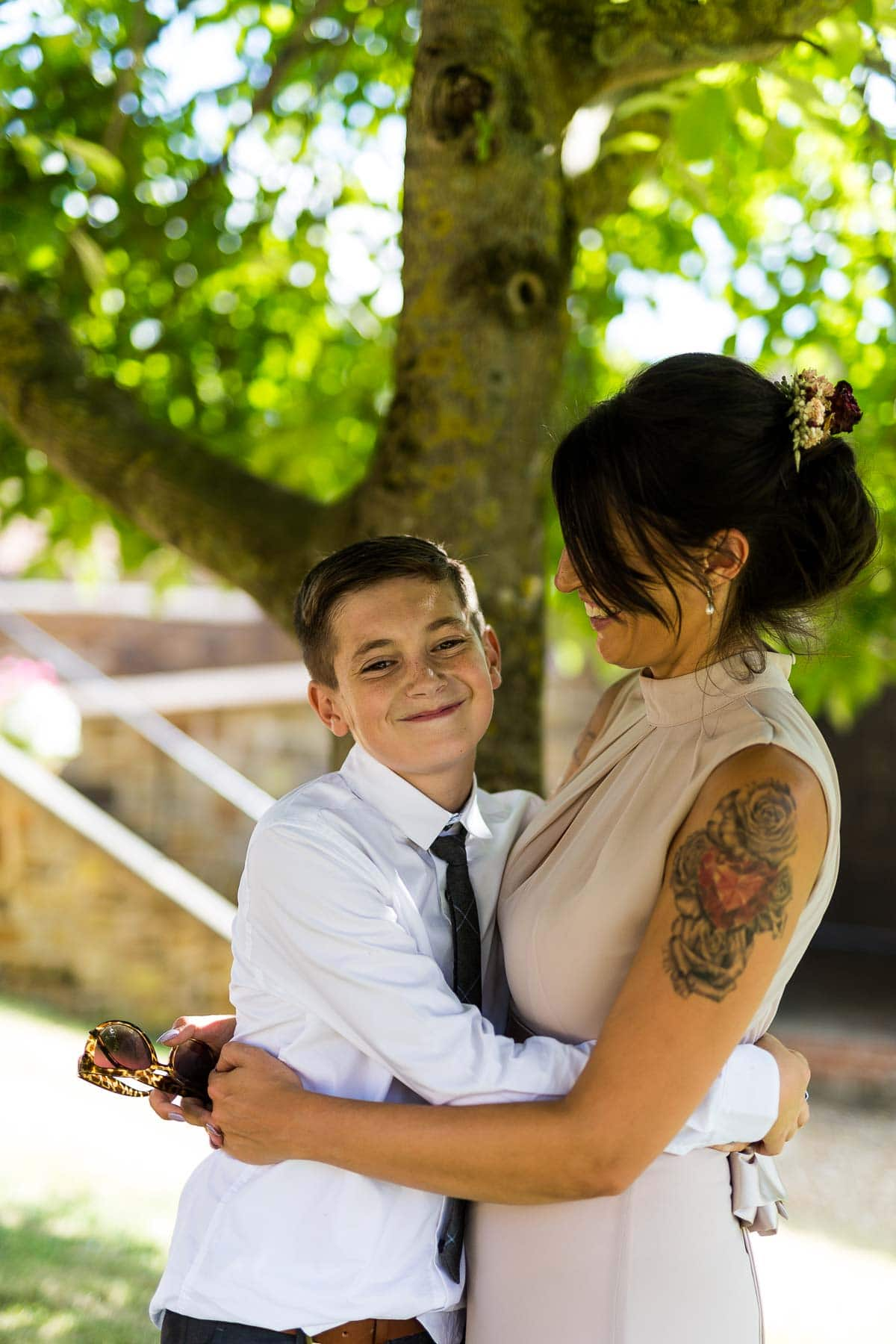 Bridesmaid and her son