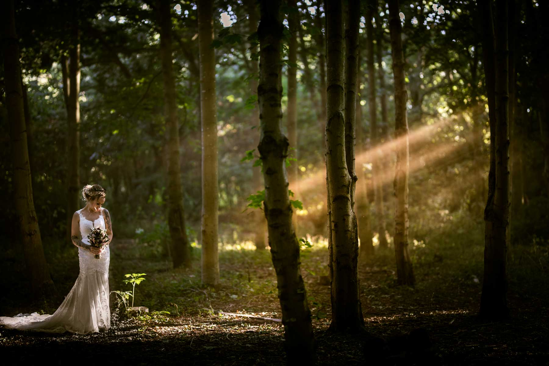 beautiful ethereal photo of a bride in a wood in northampton, with sun beams piecing the woodland canopy
