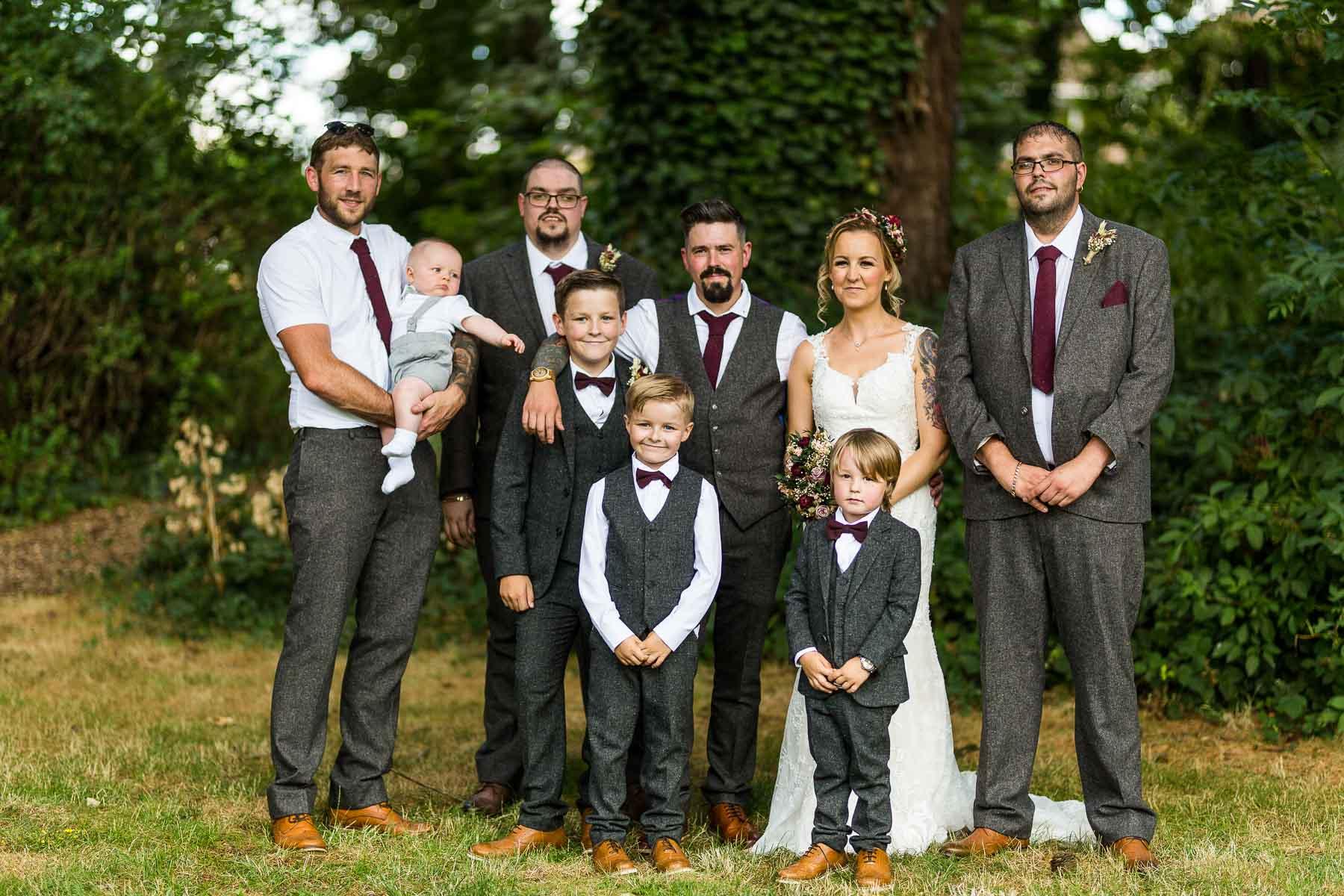 Wedding party photo at the barns hunsbury