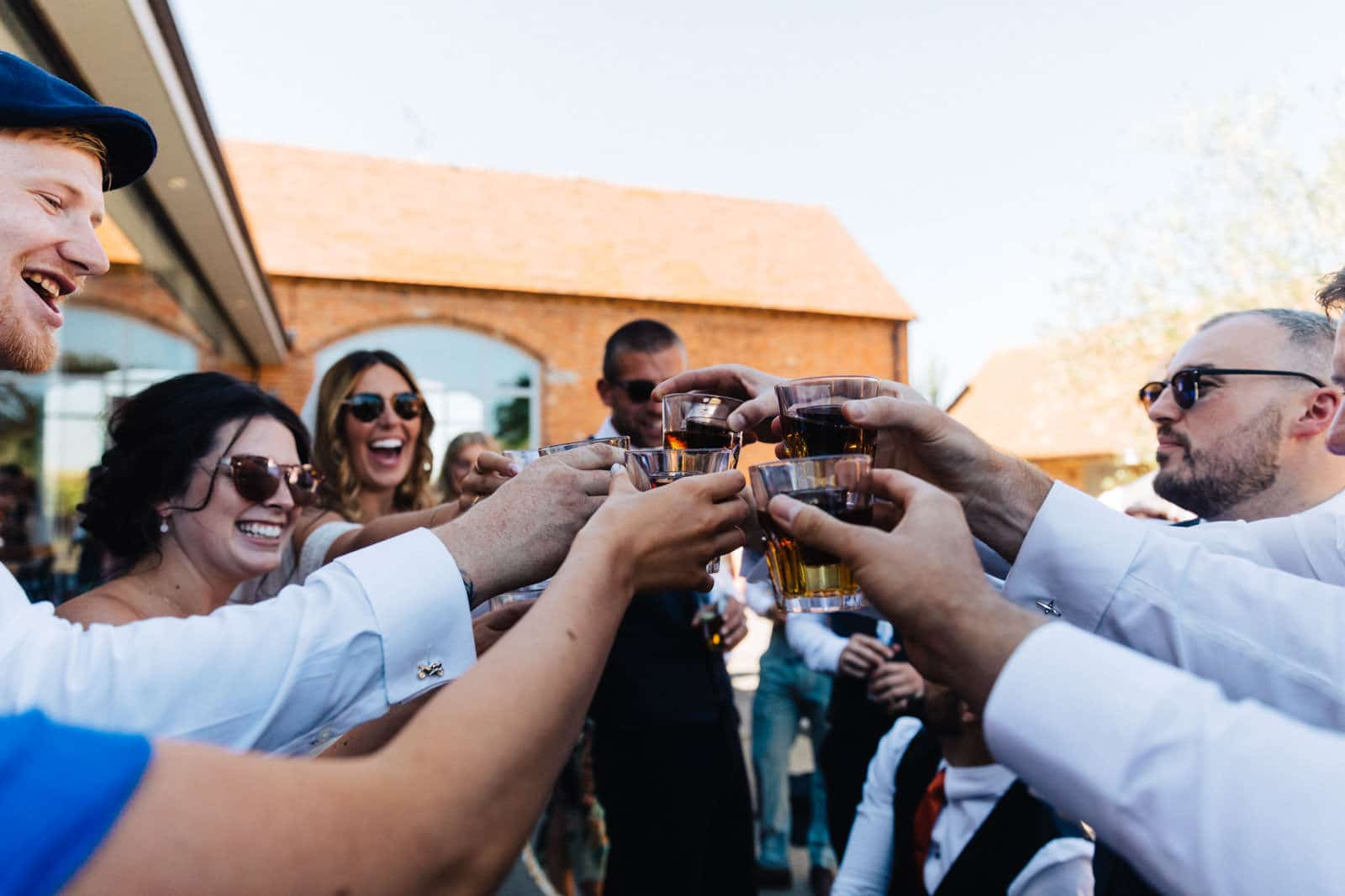 wedding guest downing shots at a wedding