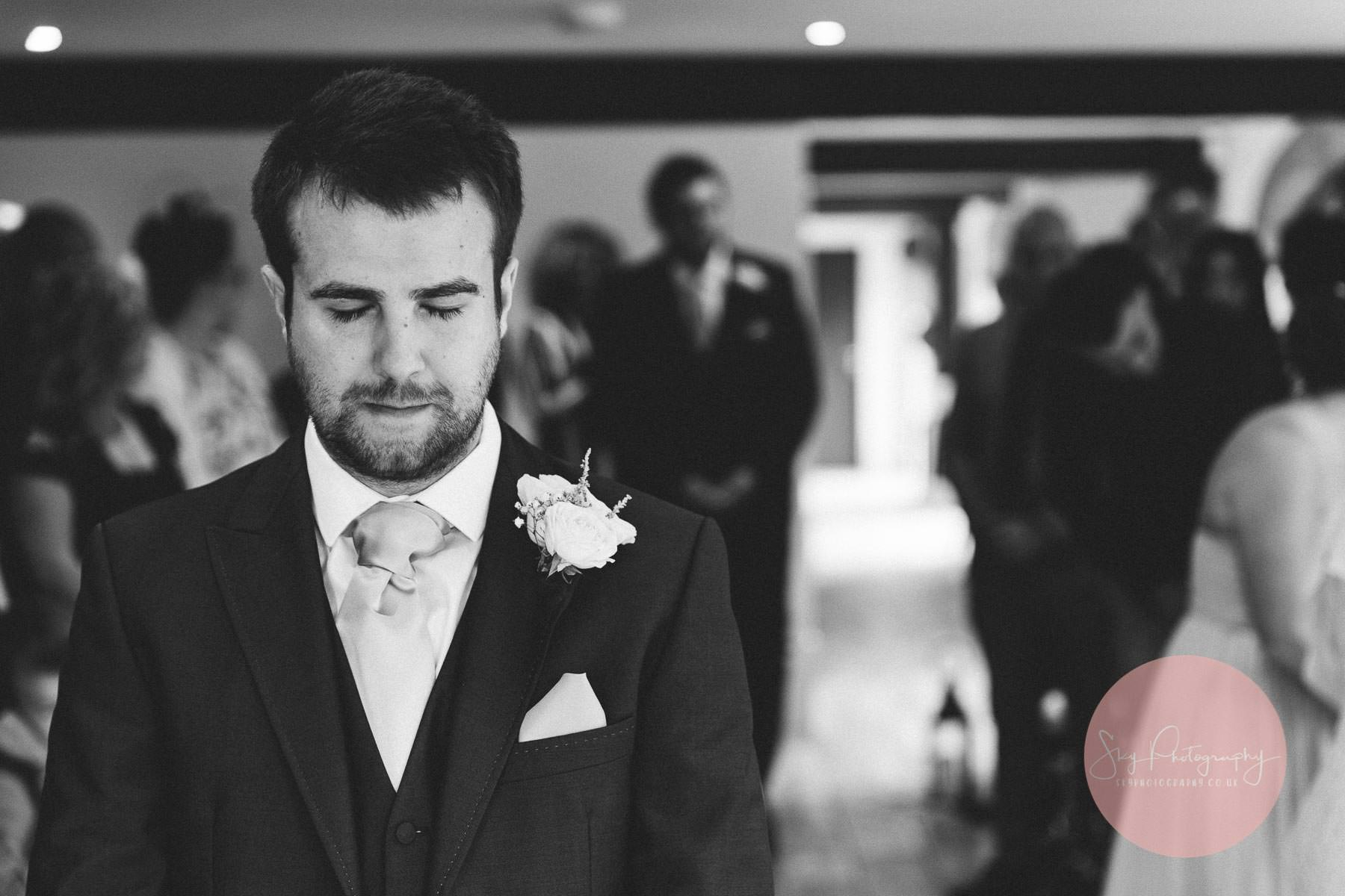 emotional groom at wood farm