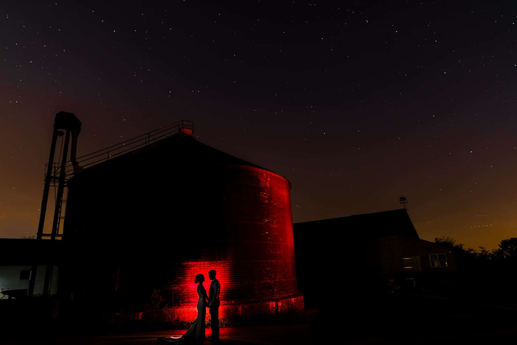 Slow shutter wedding photography showing the stars OCF mag mod accessories used