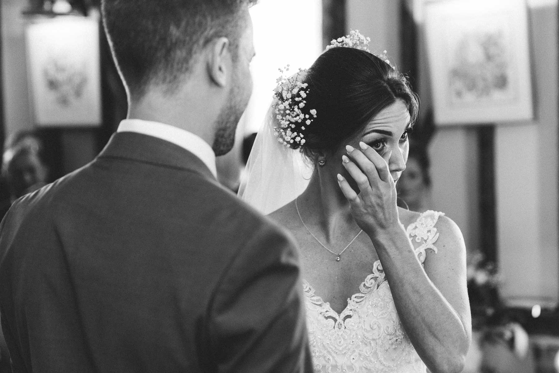 emotional bride getting married at the reid rooms