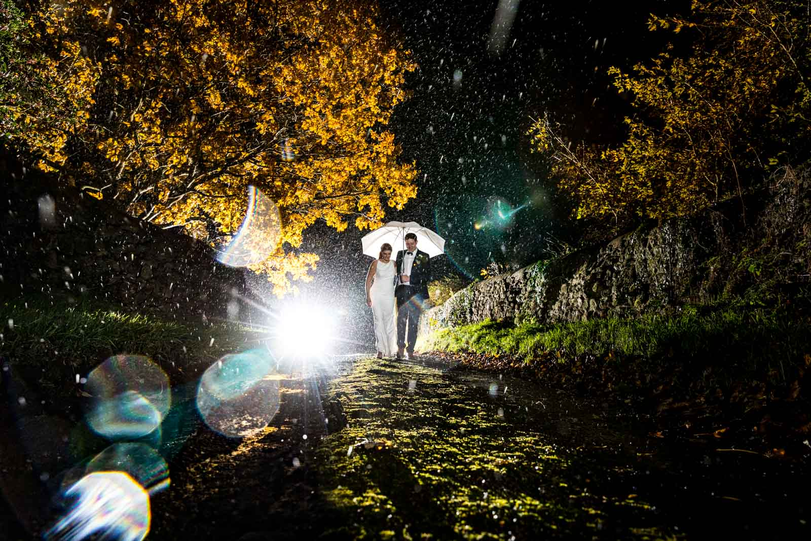 Amazing rain wedding photography at Dodford Manor