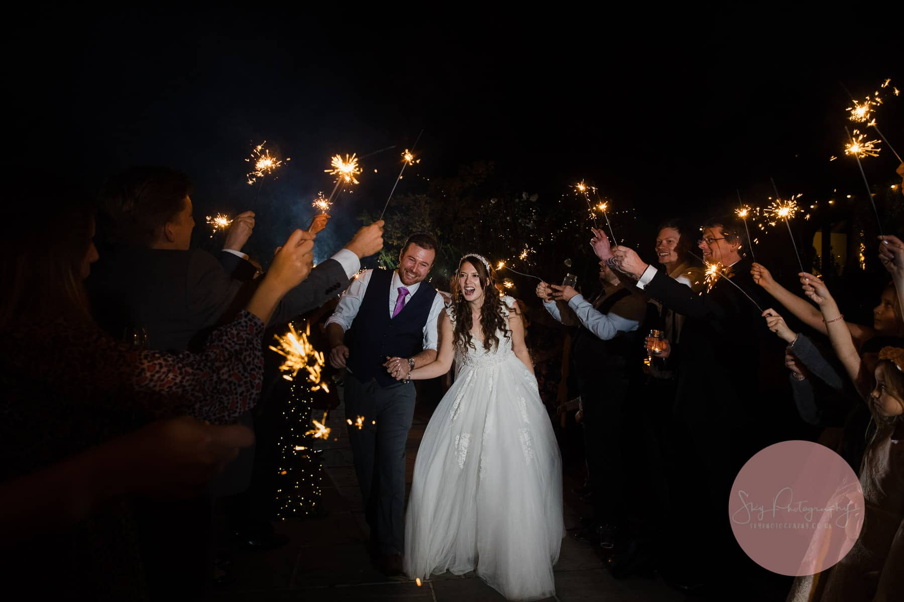 Dodmoor House Wedding Photography of the couple doing a sparkler exit