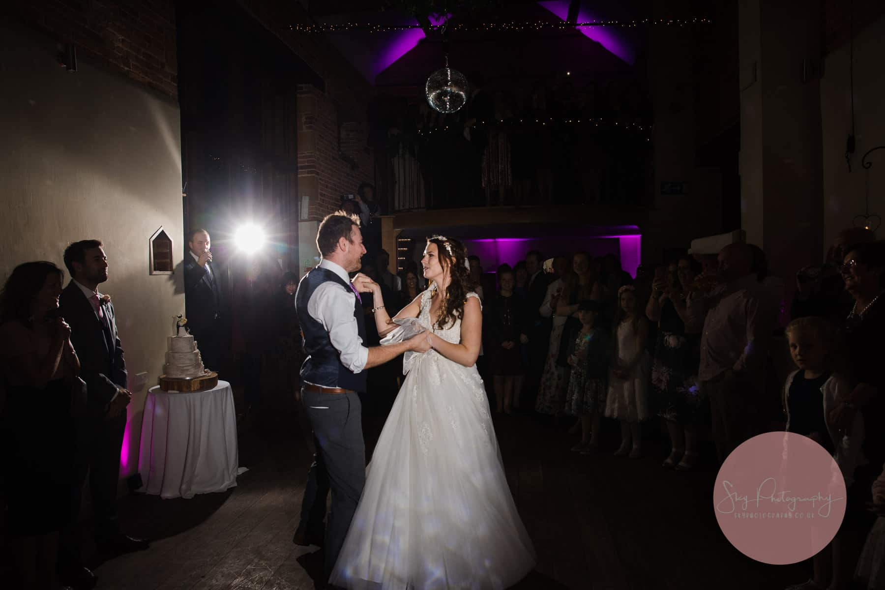 bride and groom start their first dance at Dodmoor House