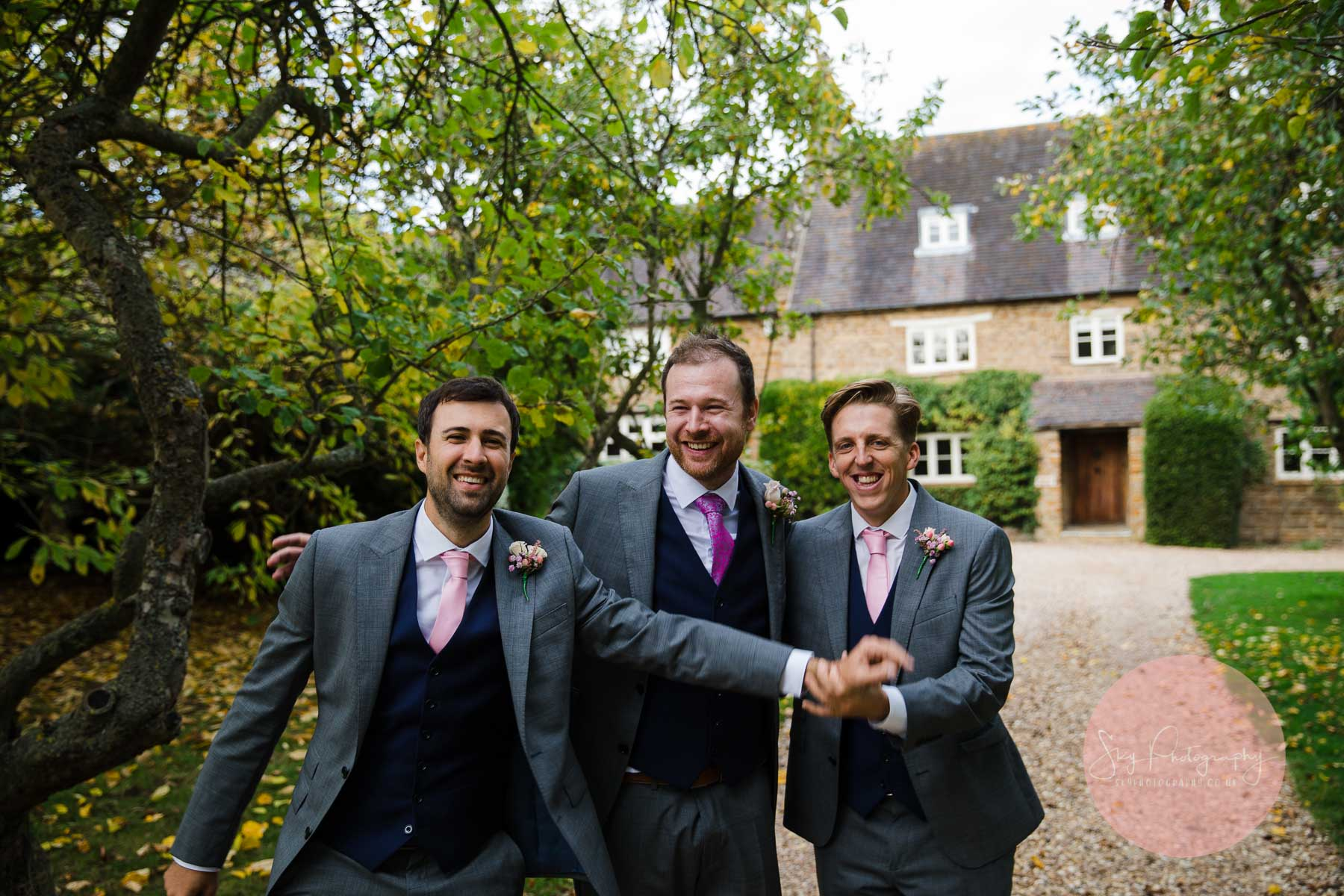 groomsmen messing about