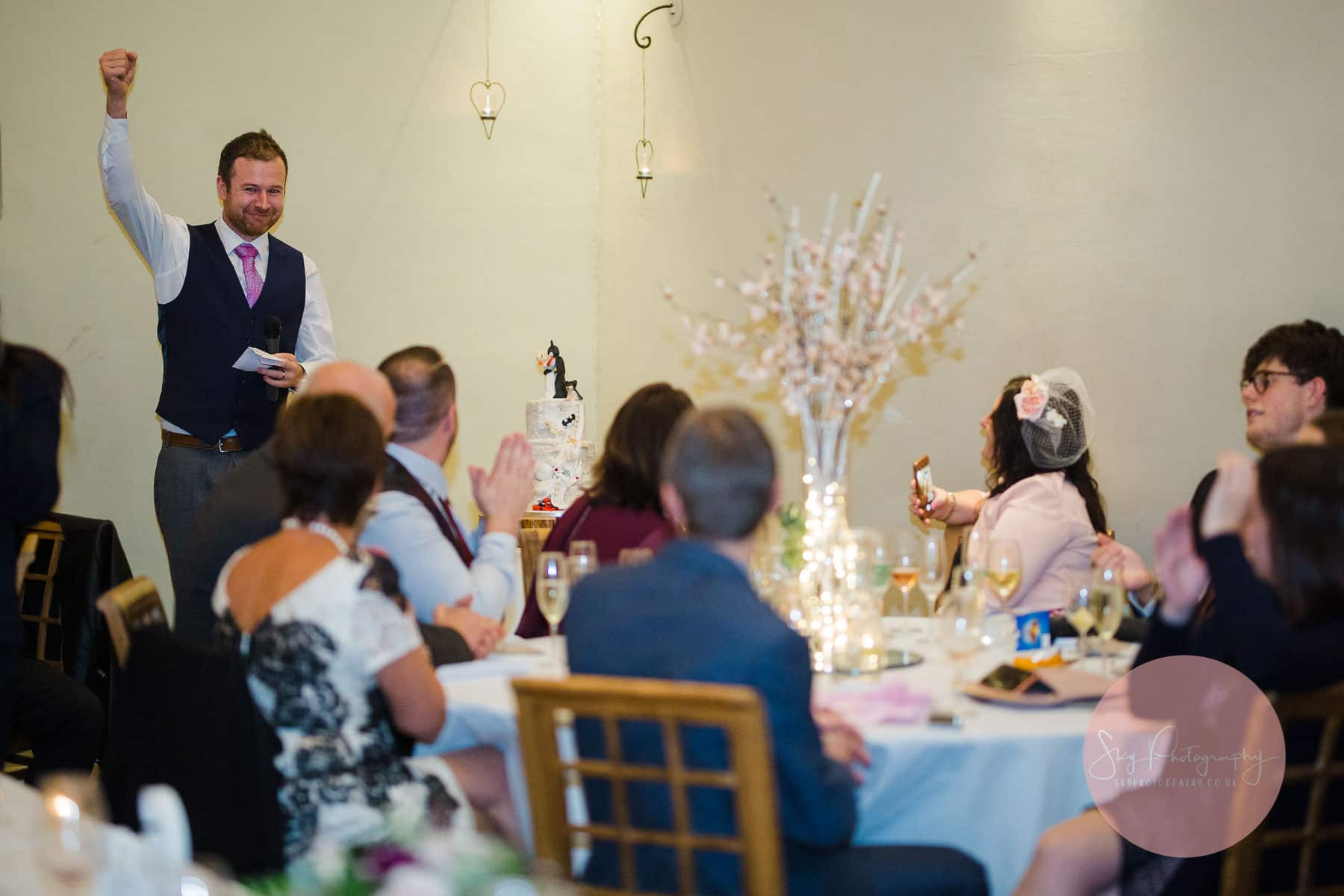 Wedding guests listening to a Groom speech at Dodmoor House