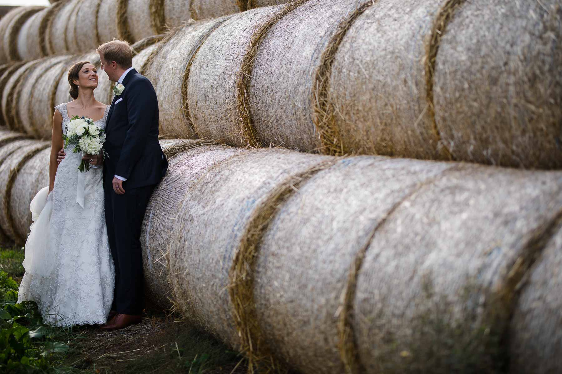 Hay bales for wedding photography props