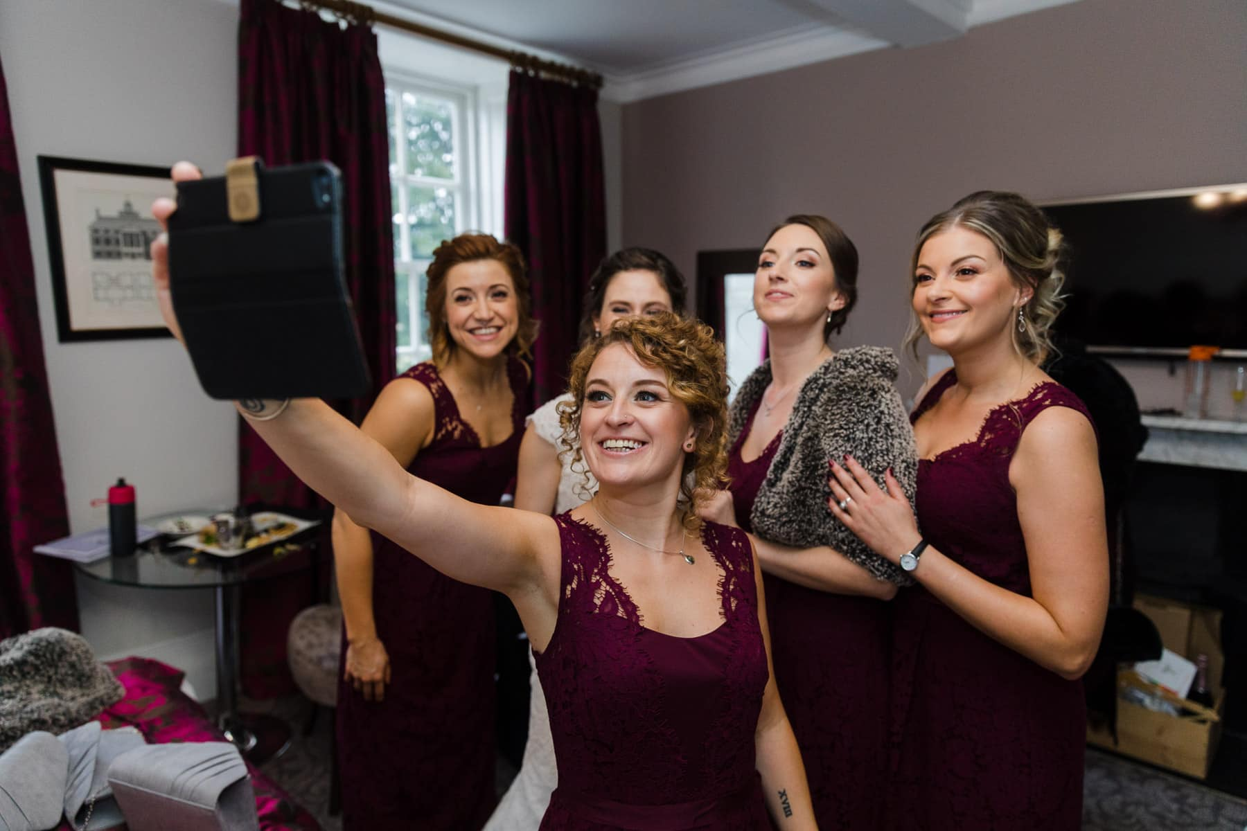 Bridesmaids selfie at Barton hall bridal room