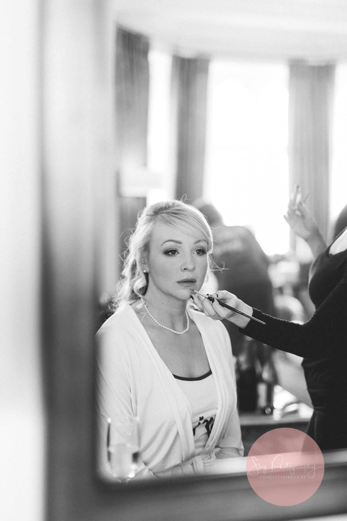 Bride preparations at Fawsley Hall room