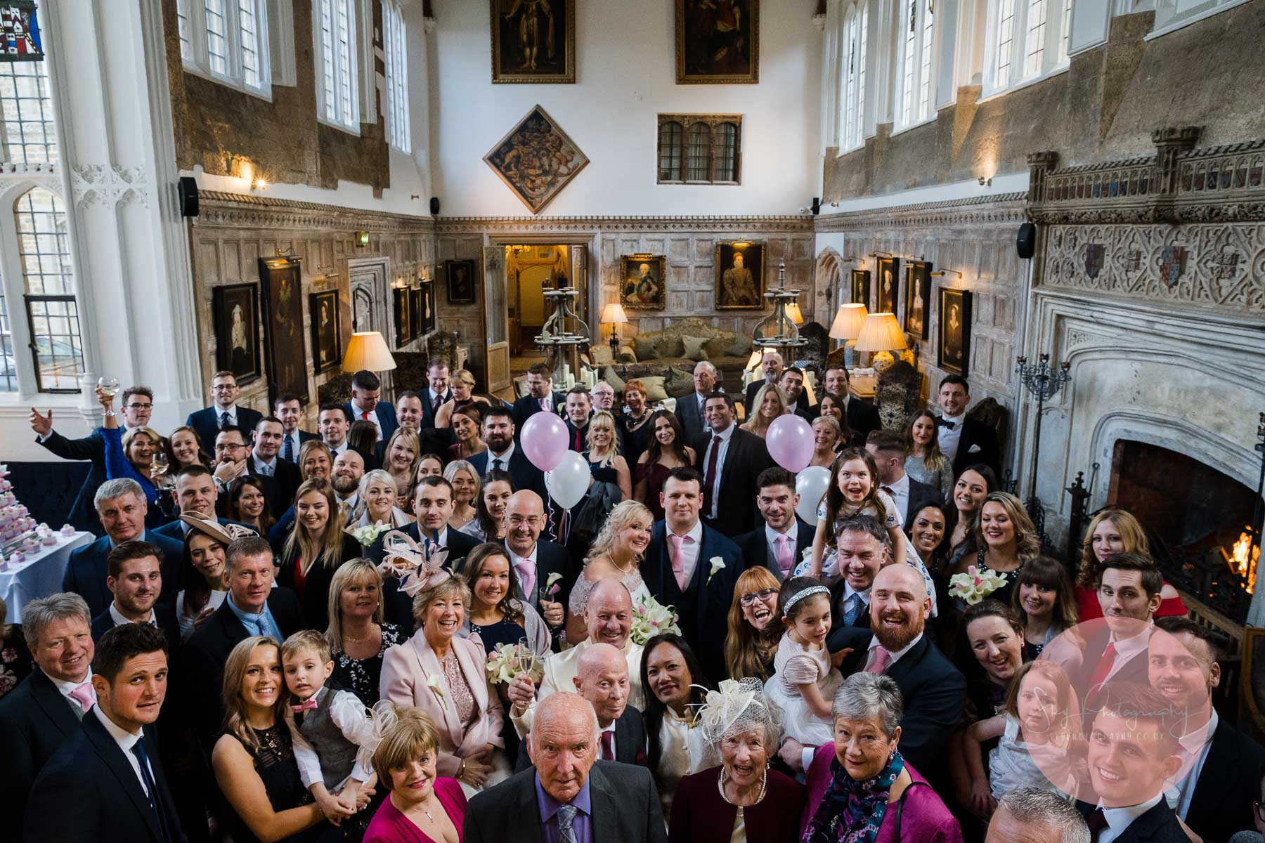 Guests in the great hall at Fawsley Hall