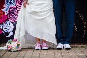 His and Hers matching wedding converse boots Bride and Groom converse