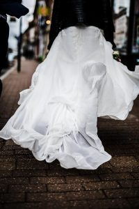 Brides dress walking along watling street