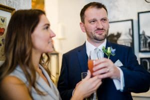 Groom not enjoying a suggested drink