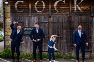 COCK Cock hotel spelt out by wedding party