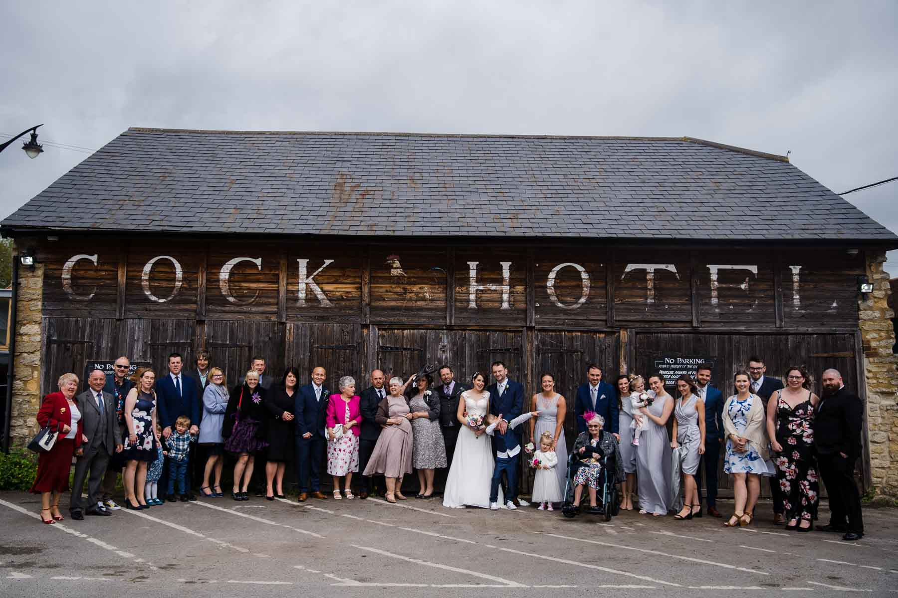 Cock Hotel car park group photos