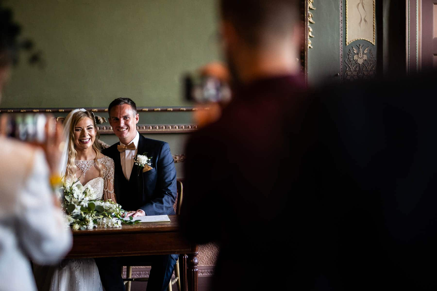 Bride and Groom getting married at Delapre Abbey