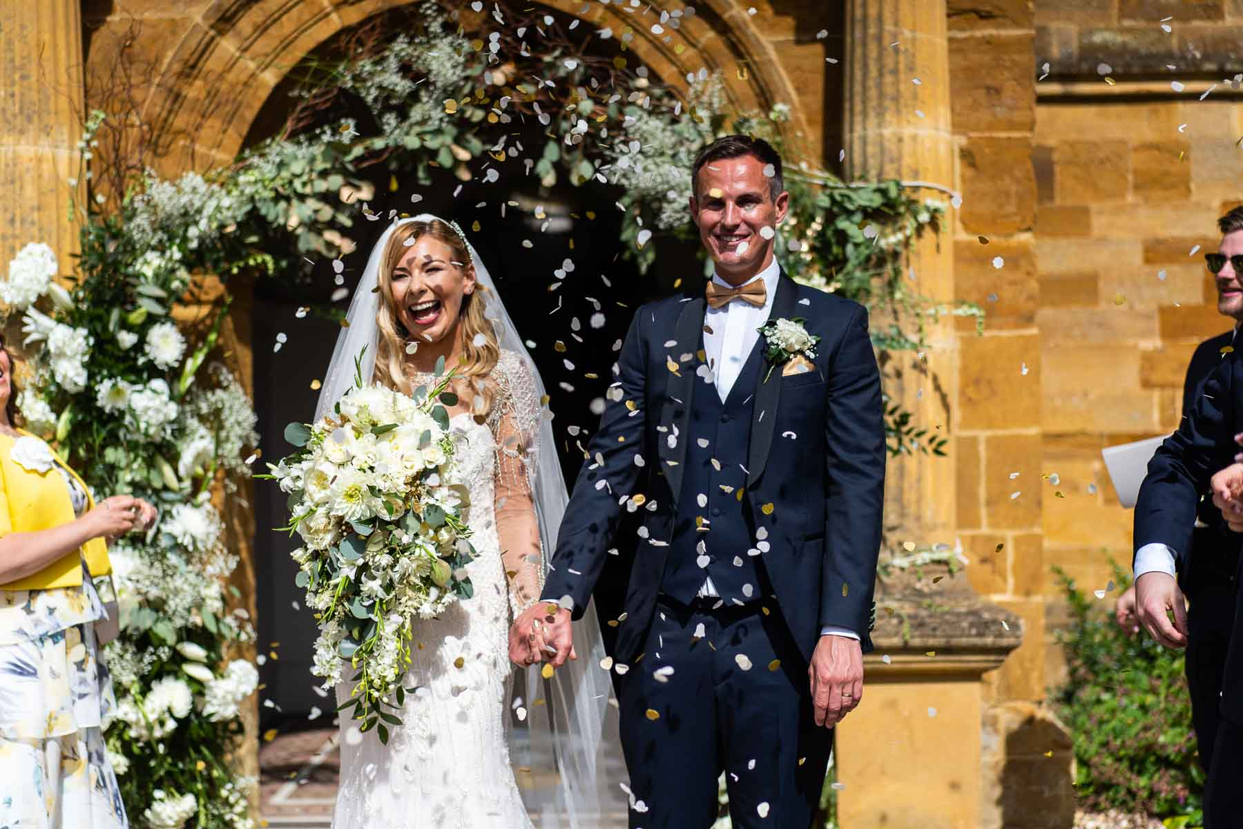 Lovely wedding ideas of flower arch at Delapre Abbey northampton
