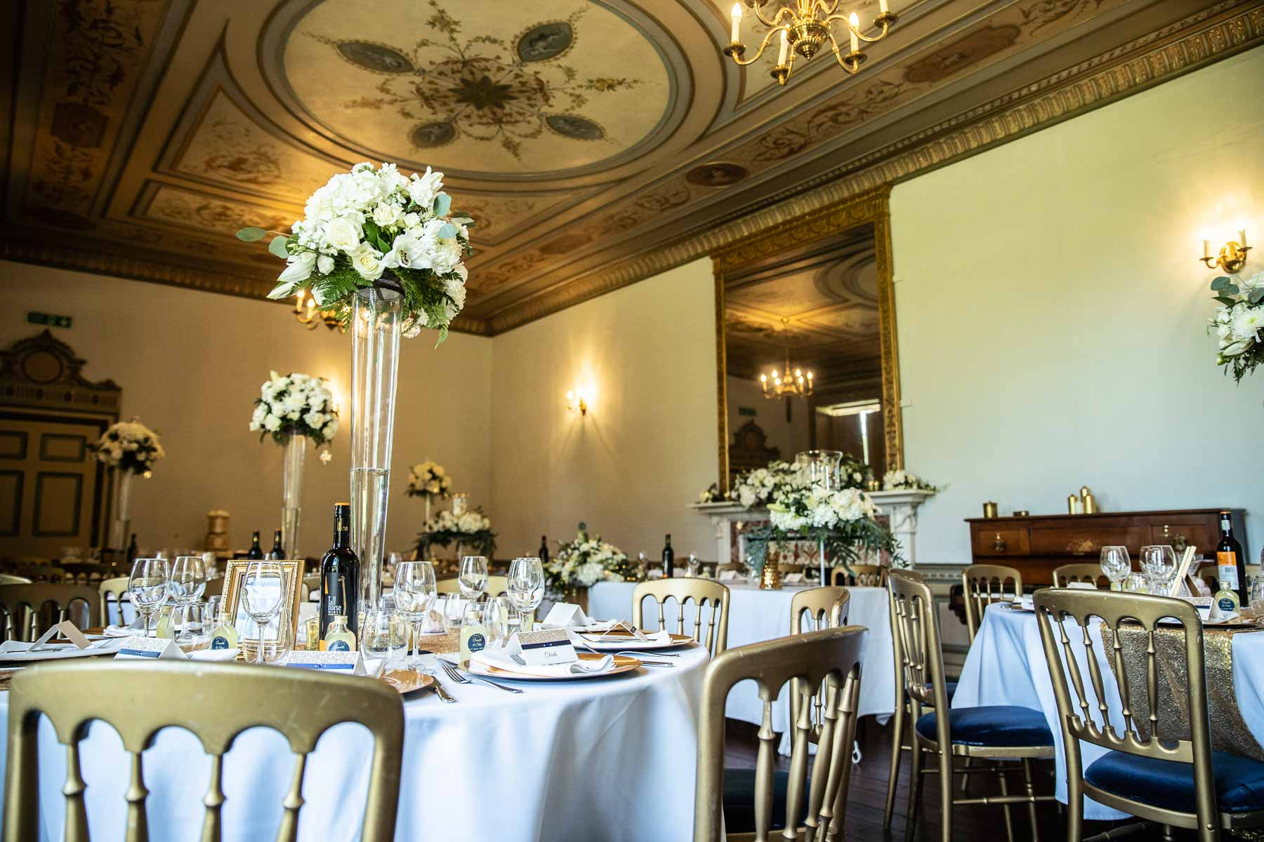 Gold wedding theme ideas at Delapre Abbey