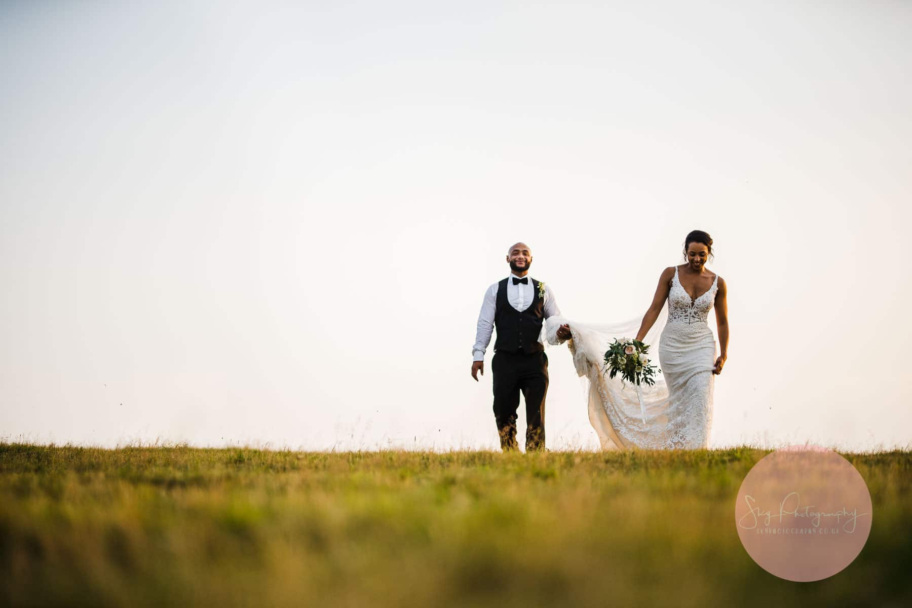Natural relaxed bride and groom portraits