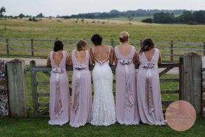 Bridesmaids standing in line at Dodford Manor
