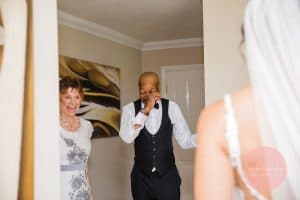 emotional dad seeing his gorgeous bride for the first time